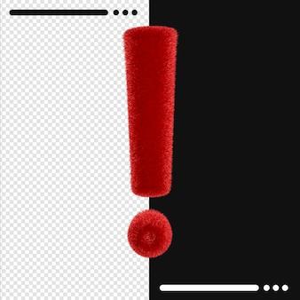 Conception de fourrure point d'exclamation dans le rendu 3d isolé