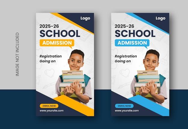 Conception d'histoires instagram de médias sociaux éducatifs pour la rentrée ou l'admission à l'école