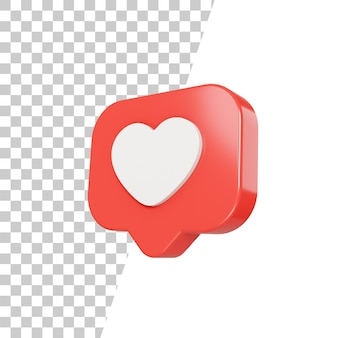 Conception d'icône d'amour brillant 3d
