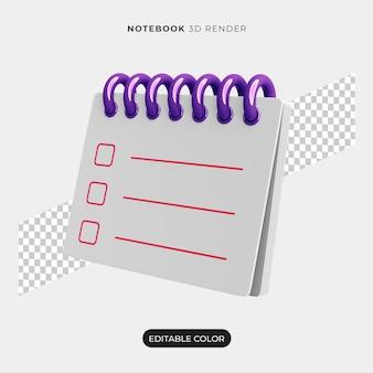 Conception d'icône de cahier 3d isolée