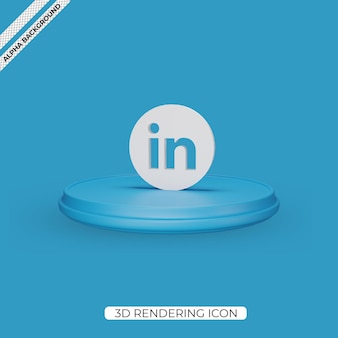 Conception d'icône de rendu linkedin 3d