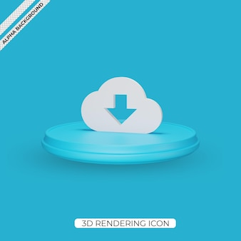 Conception d'icône de rendu de téléchargement de nuage 3d