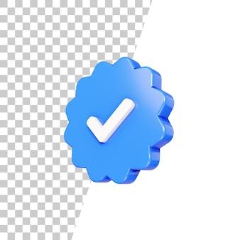 Conception d'icône de vérification brillante 3d