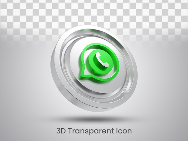 Conception d'icône whatsapp en rendu 3d vue inférieure gauche