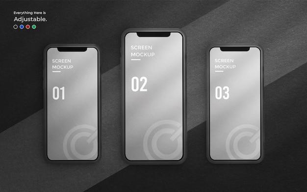 Conception d'interface utilisateur ou maquette d'interface d'application sur l'écran du téléphone 3d