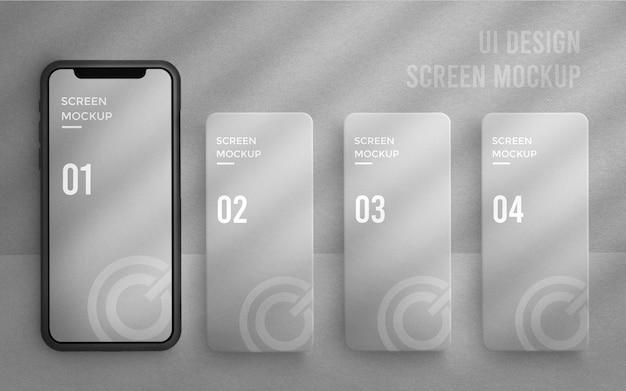 Conception d'interface utilisateur ou maquette d'interface d'application sur l'écran de téléphone 3d blanc