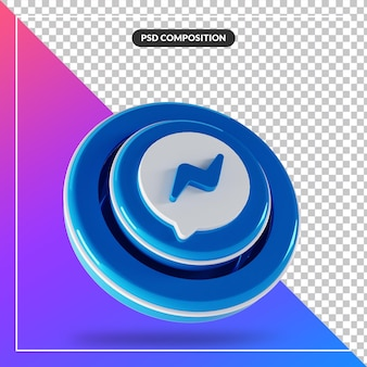 Conception isolée du logo facebook messenger brillant 3d