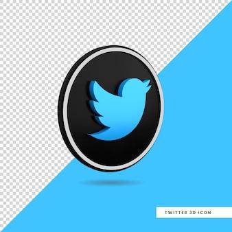 Conception isolée de l'icône twitter 3d