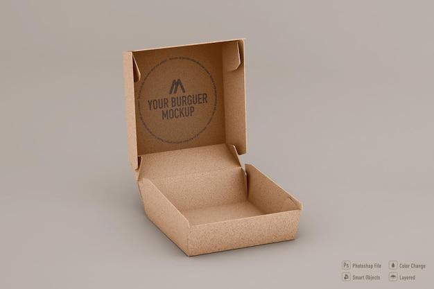 Conception isolée de maquette de boîte de hamburger