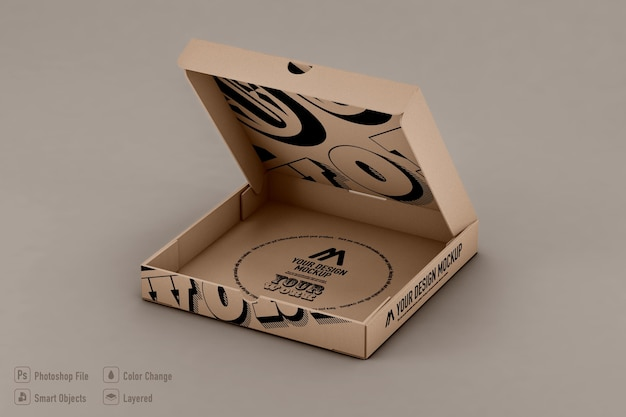 Conception isolée de maquette de boîte à pizza