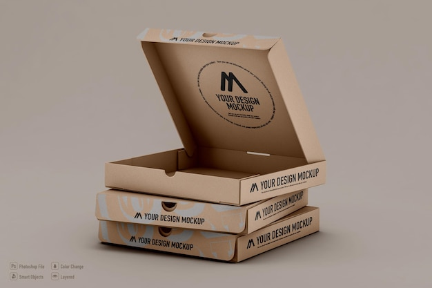 Conception isolée de maquette de boîtes à pizza