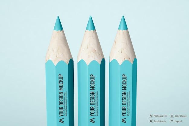 Conception isolée de maquette de crayon de couleur