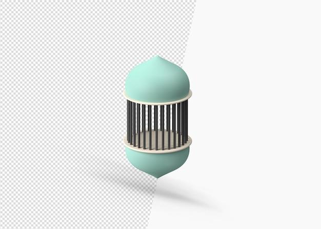 Conception de lanterne de ramadan arabe 3d isolé