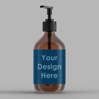 Conception de maquette 3d de bouteille de lavage à la main isolée