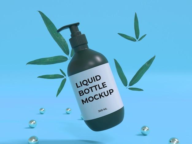 Conception de maquette 3d de bouteille de liquide cosmétique