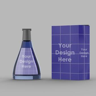 Conception de maquette 3d de bouteille de parfum isolé
