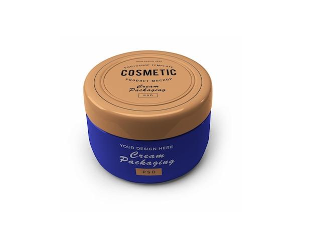 Conception de maquette 3d pot cosmétique crème isolée