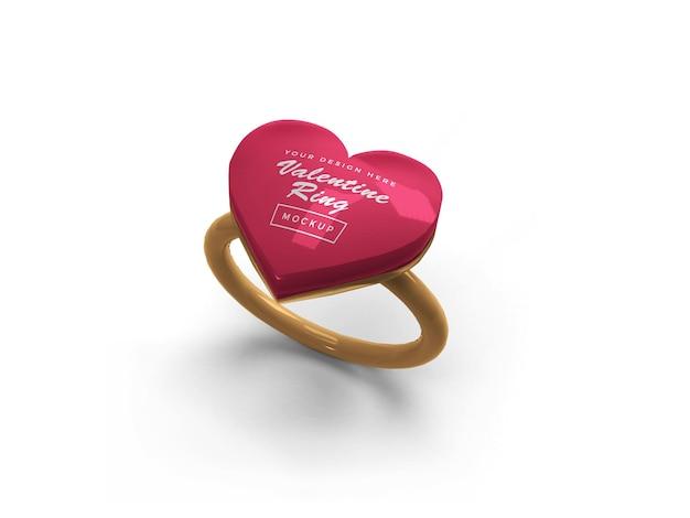 Conception de maquette de bague coeur saint-valentin isolée