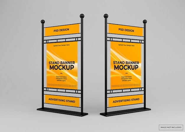 Conception de maquette de bannière de stand publicitaire