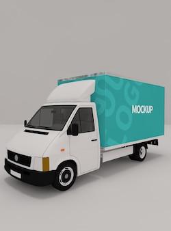 Conception de maquette de boîte de camion en rendu 3d