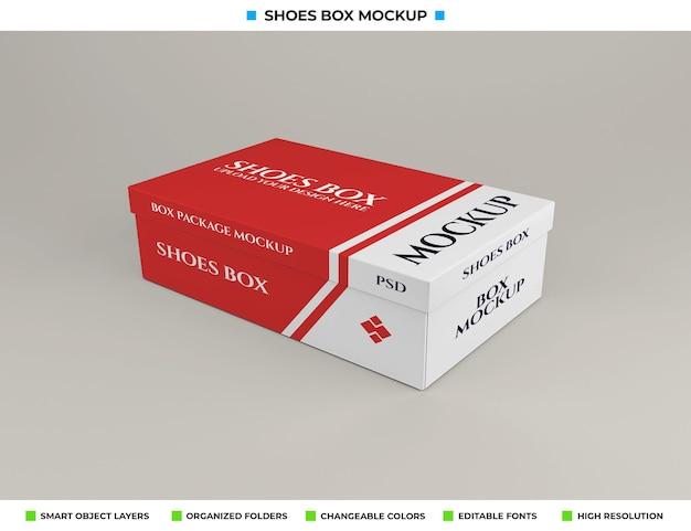 Conception de maquette de boîte à chaussures en carton réaliste