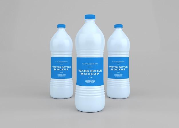 Conception de maquette de bouteille d'eau en rendu 3d isolé