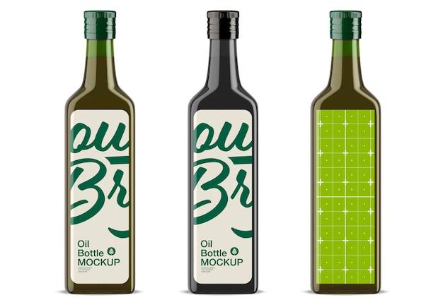 Conception de maquette de bouteille d'huile d'olive en verre vert isolé