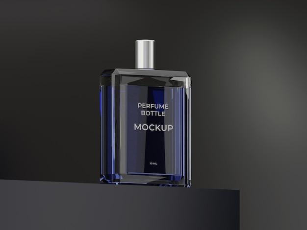 Conception de maquette de bouteille de parfum en verre noir de haute qualité avec fond noir