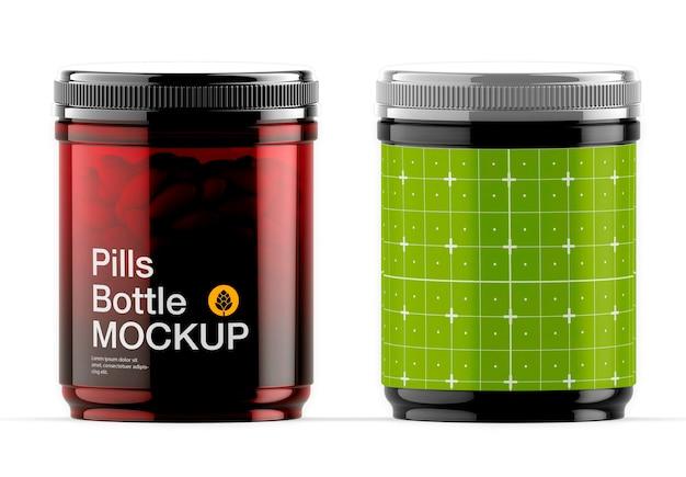 Conception de maquette de bouteille de pilules amberr isolé