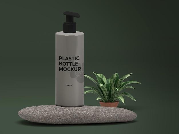 Conception de maquette de bouteille en plastique cosmétique nature psd