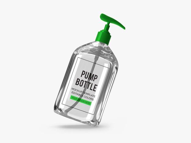 Conception de maquette de bouteille de pompe de gel d'alcool isolée