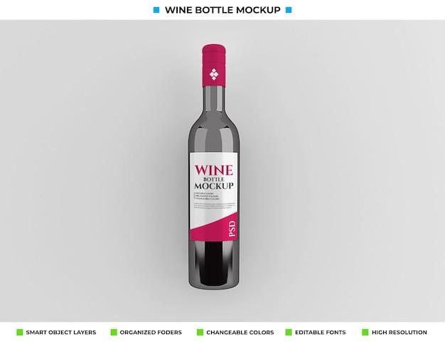 Conception de maquette de bouteille de vin rouge dans le concept de boisson