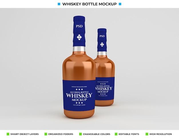 Conception de maquette de bouteille de whisky dans le concept de boisson