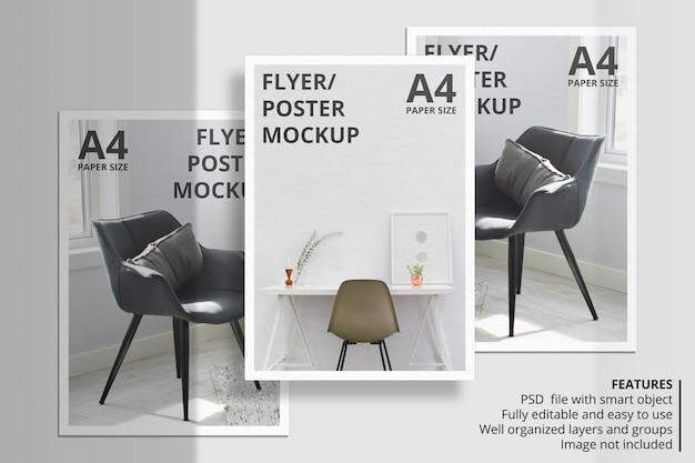 Conception de maquette de brochure papier ou flyer réaliste avec superposition d'ombres