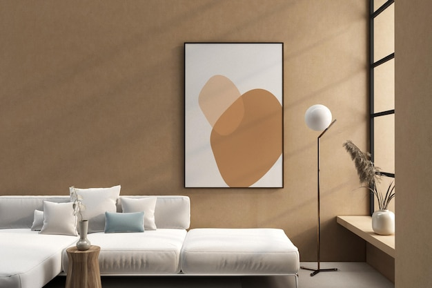 Conception de maquette de cadre et de canapé avec fleur en rendu 3d