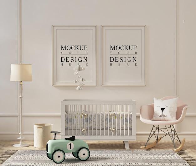 Conception de maquette de cadre dans une chambre d'enfant moderne