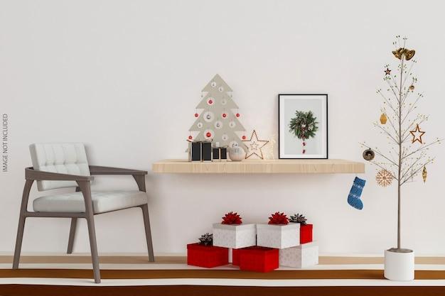Conception de maquette de cadres sur le mur avec arbre de noël en rendu 3d