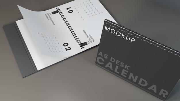 Conception de maquette de calendrier de bureau horizontal minimaliste réaliste