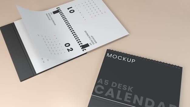Conception de maquette de calendrier de bureau horizontal réaliste