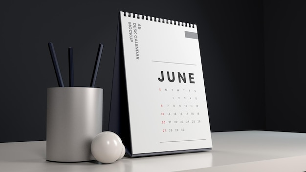 Conception de maquette de calendrier de bureau réaliste