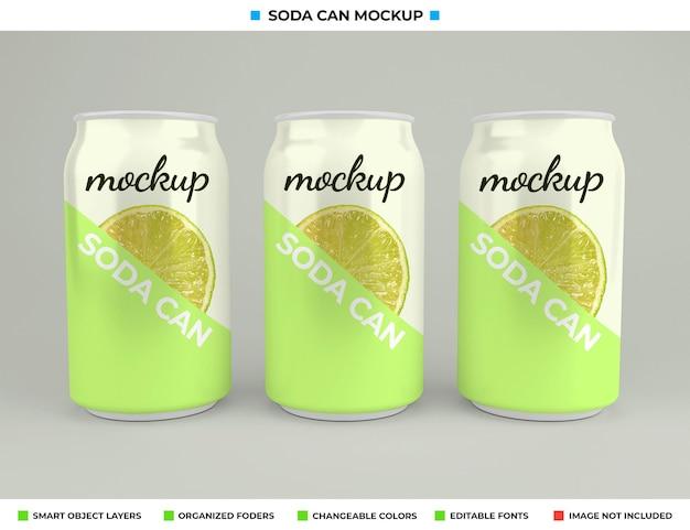Conception de maquette de canette de soda dans le concept de boisson