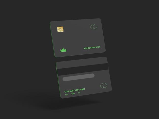 Conception de maquette de carte de crédit dans le rendu 3d