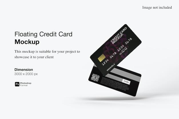 Conception de maquette de carte de crédit flottante isolée