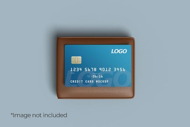 Conception de maquette de carte de crédit avec portefeuille