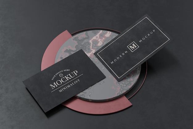 Conception de maquette de carte de visite noire en rendu 3d