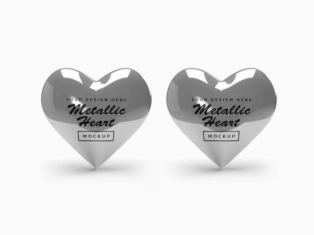Conception de maquette de coeur métallique saint-valentin