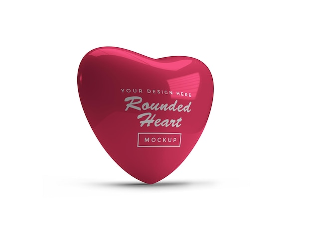 Conception de maquette de coeur saint-valentin arrondie isolée
