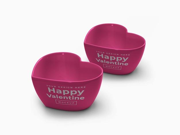 Conception de maquette de conteneur de coeur d'amour de la saint-valentin