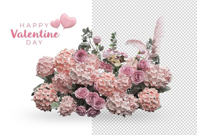 Conception de maquette de décoration de fleurs de roses de saint-valentin