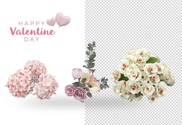 Conception de maquette de décoration de fleurs de saint valentin